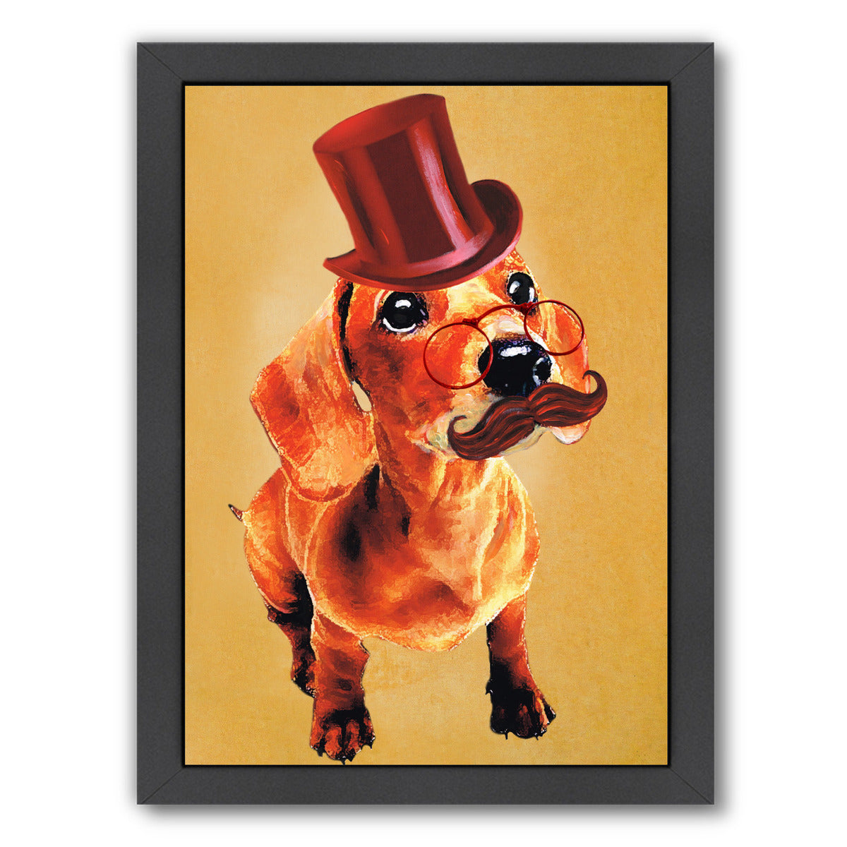 Sir Dachshund By Coco De Paris - Black Framed Print - Wall Art - Americanflat