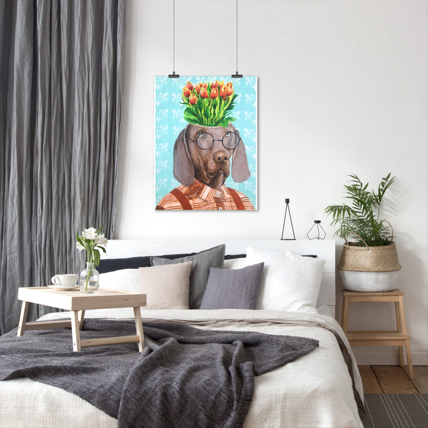 Weimarer With Flowers by Coco de Paris - Art Print - Americanflat