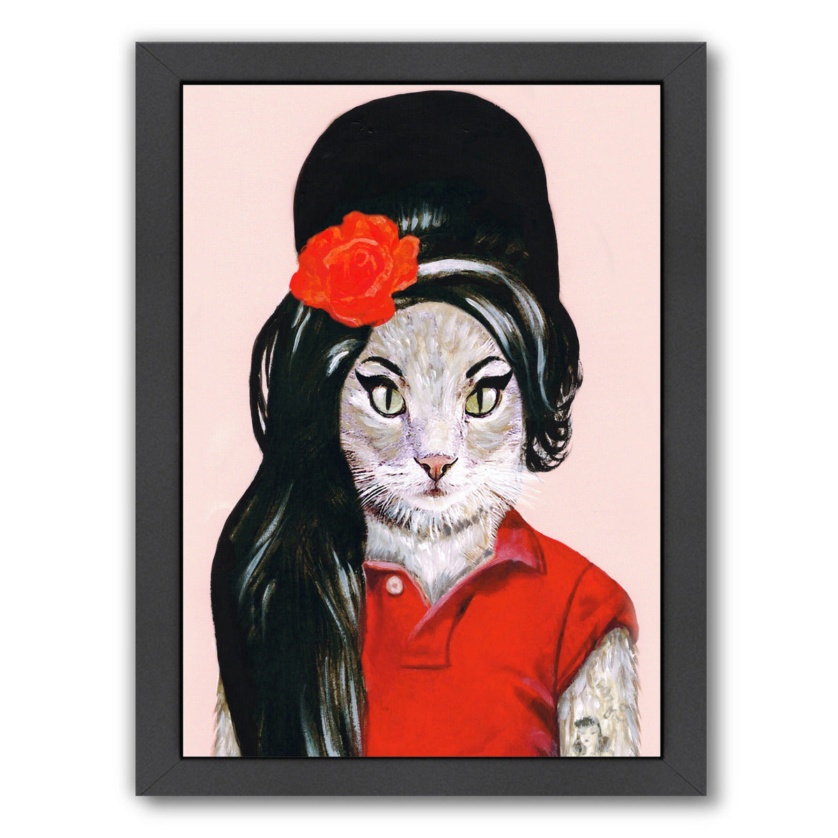 Winehouse Cat By Coco De Paris - Black Framed Print - Wall Art - Americanflat