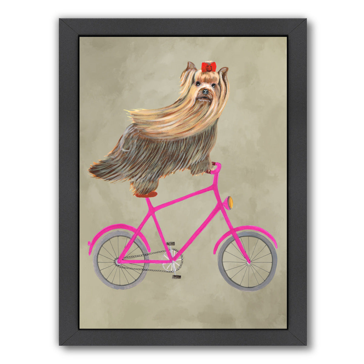 Yorkshire Terrier On Bicycle By Coco De Paris - Black Framed Print - Wall Art - Americanflat
