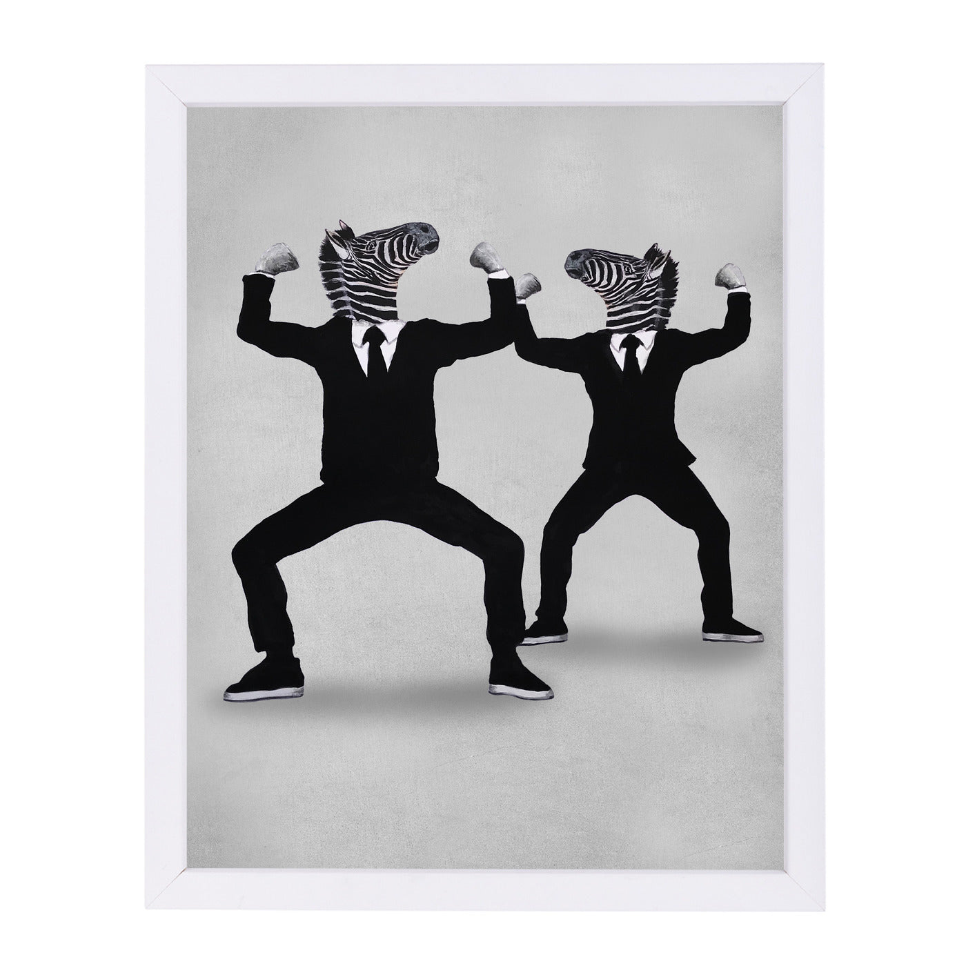 Zebra Vogueing By Coco De Paris - White Framed Print - Wall Art - Americanflat