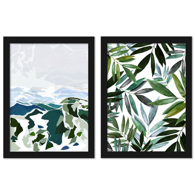 Green Mountains by Louise Robinson - 2 Piece Framed Print Set - Americanflat