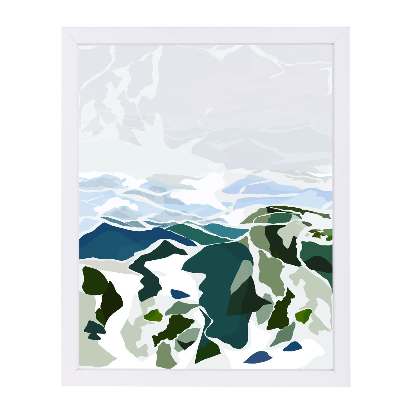 Green Mountains by Louise Robinson - White Framed Print - Wall Art - Americanflat
