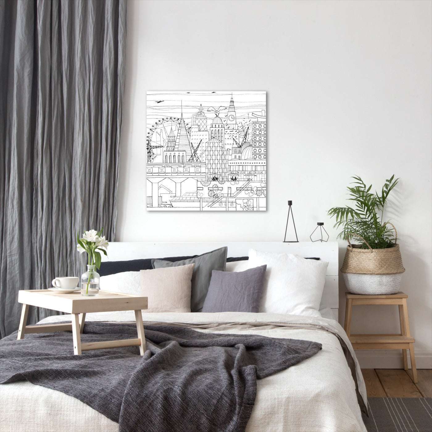 Line Drawing City by Dreamy Me - Wrapped Canvas - Wrapped Canvas - Americanflat