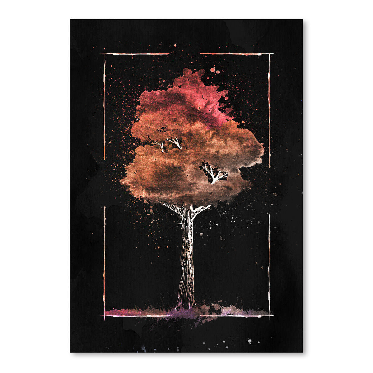 Watercolor Tree On Black by Tanya Shumkina - Art Print - Americanflat