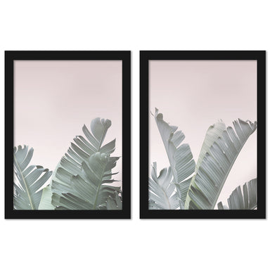 Blush Pink Tropical Leaves by Tanya Shumkina - 2 Piece Framed Print Set - Americanflat
