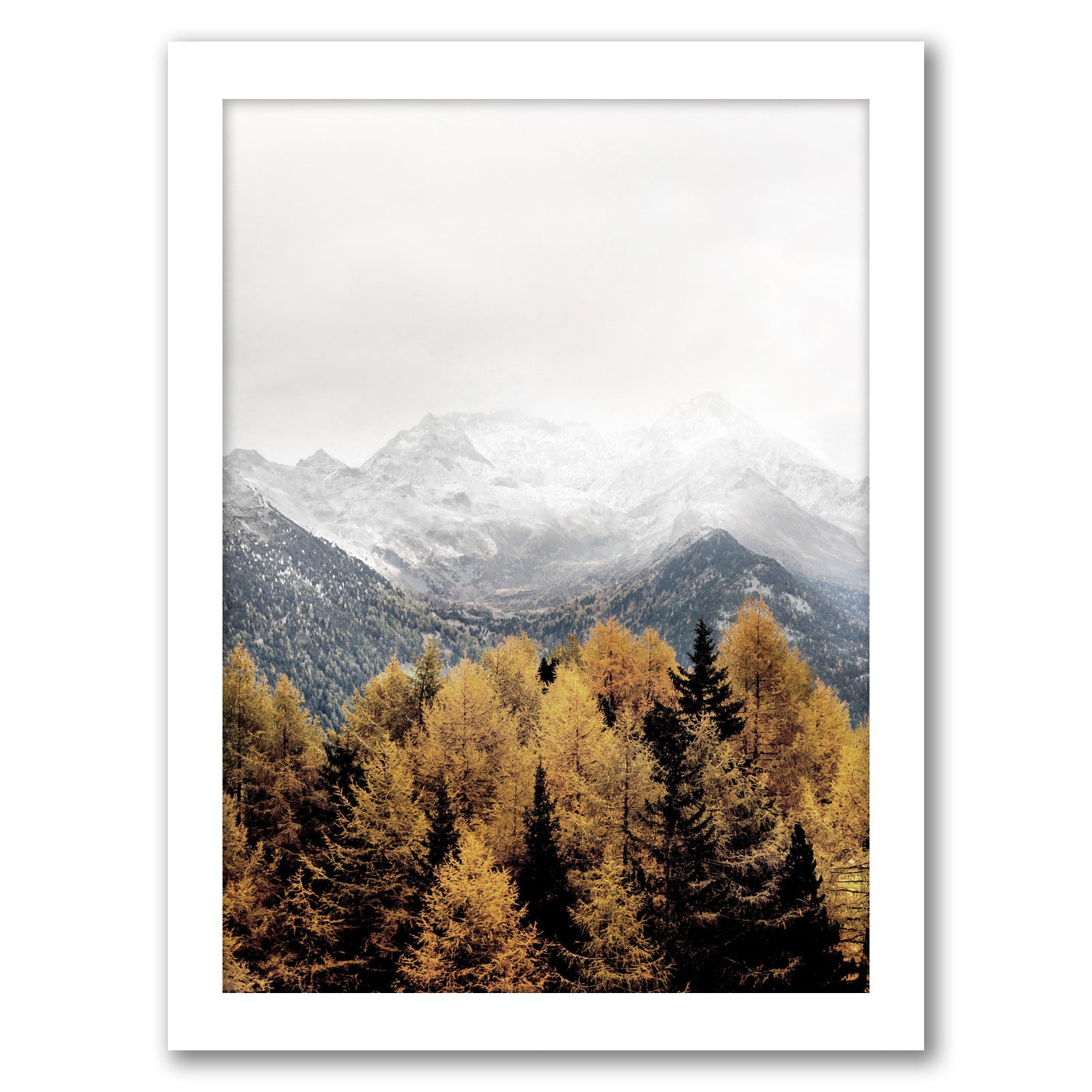 Snowy Mountain by Tanya Shumkina - White Framed Print - Wall Art - Americanflat
