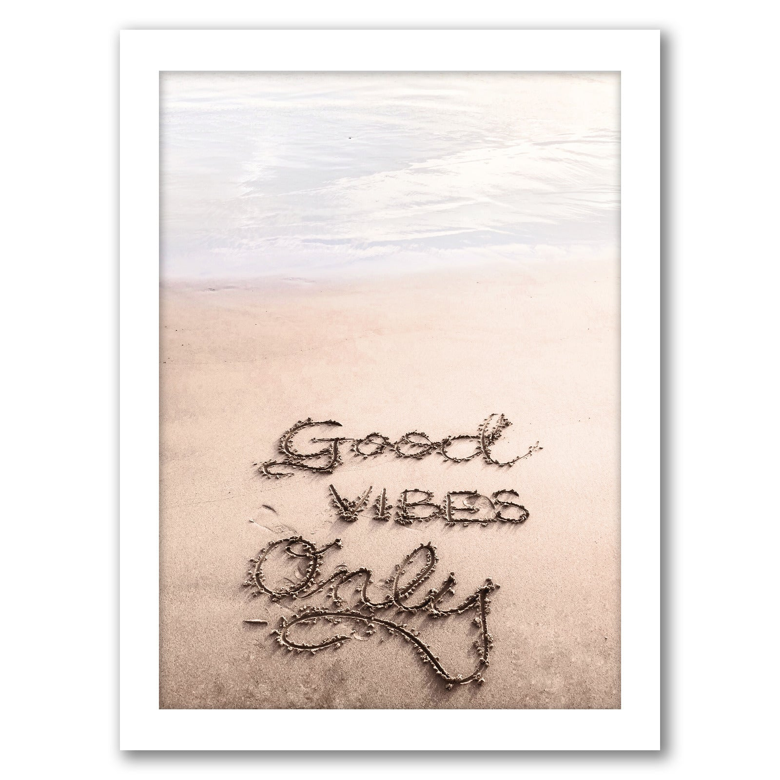 Good Vibes On The Beach by Tanya Shumkina - White Framed Print - Wall Art - Americanflat