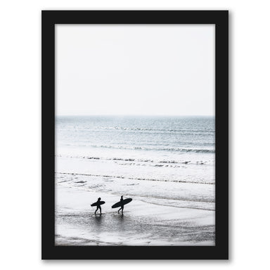 Two Surfers On The Beach by Tanya Shumkina - Black Framed Print - Wall Art - Americanflat