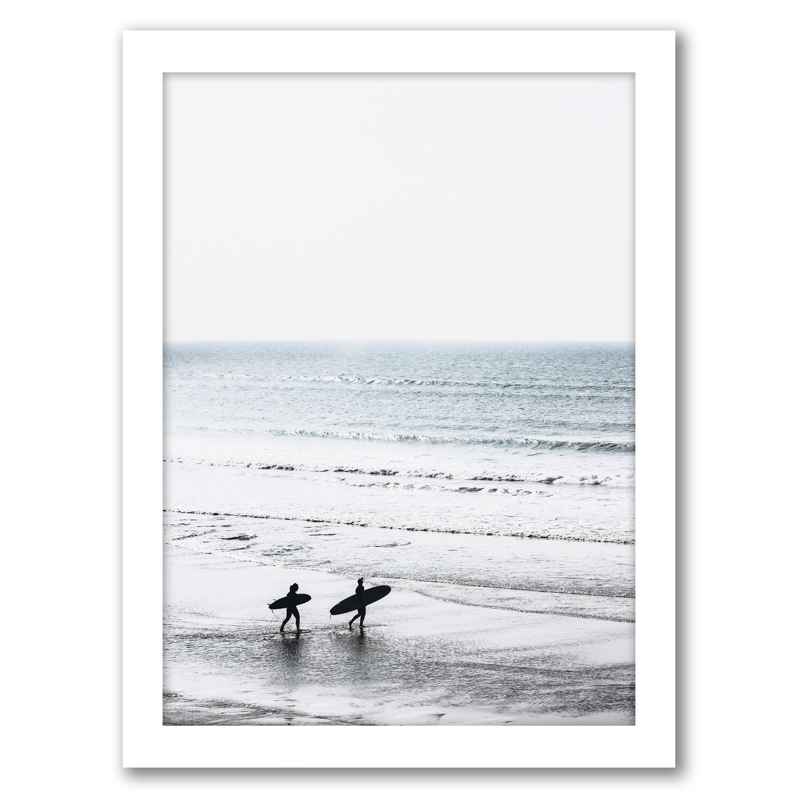 Two Surfers On The Beach by Tanya Shumkina - White Framed Print - Wall Art - Americanflat