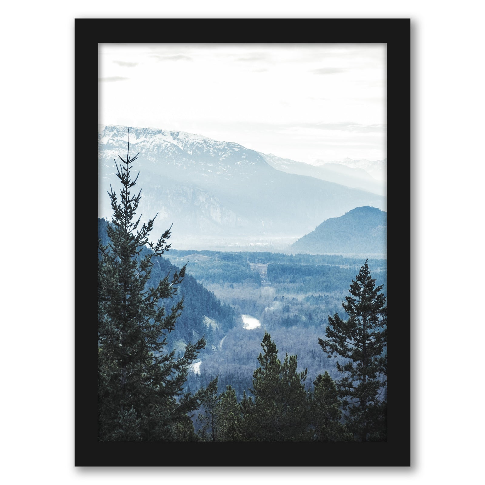 Navy Blue Foggy Trees by Tanya Shumkina - Black Framed Print - Wall Art - Americanflat
