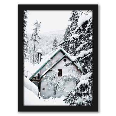 Cabins In Snowy Pine Tree Forest by Tanya Shumkina - Black Framed Print - Wall Art - Americanflat