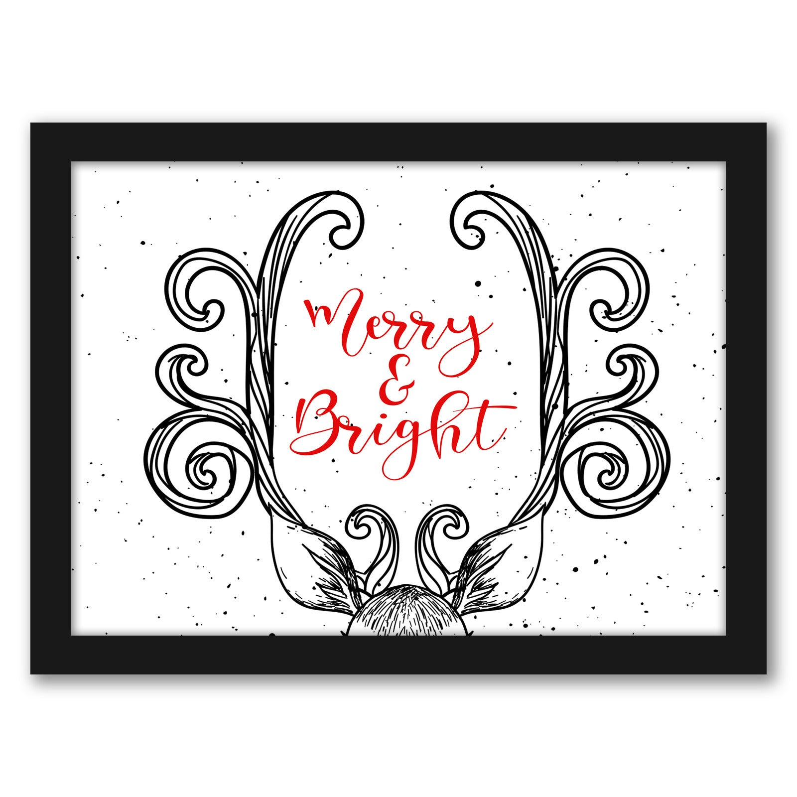 Merry And Bright In Horns by Tanya Shumkina - Black Framed Print - Wall Art - Americanflat