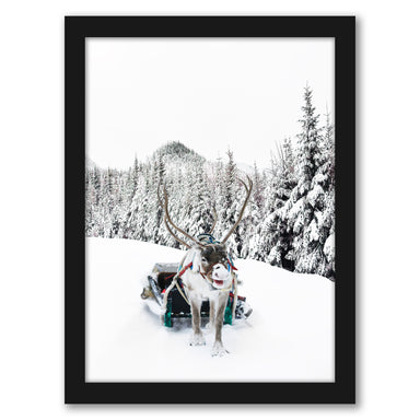 Reindeer And Snowy Forest Trees by Tanya Shumkina - Black Framed Print - Wall Art - Americanflat