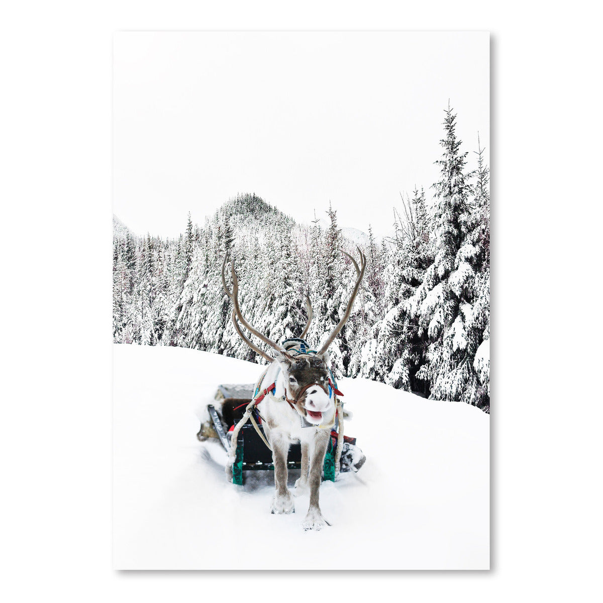 Reindeer And Snowy Forest Trees by Tanya Shumkina - Art Print - Americanflat