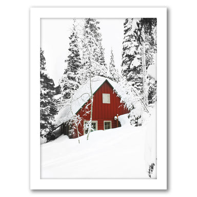 Red Cabin In Snow by Tanya Shumkina - White Framed Print - Wall Art - Americanflat