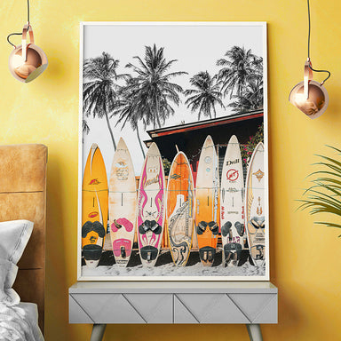 Hawaii Surfboard by Tanya Shumkina - White Framed Print - Wall Art - Americanflat