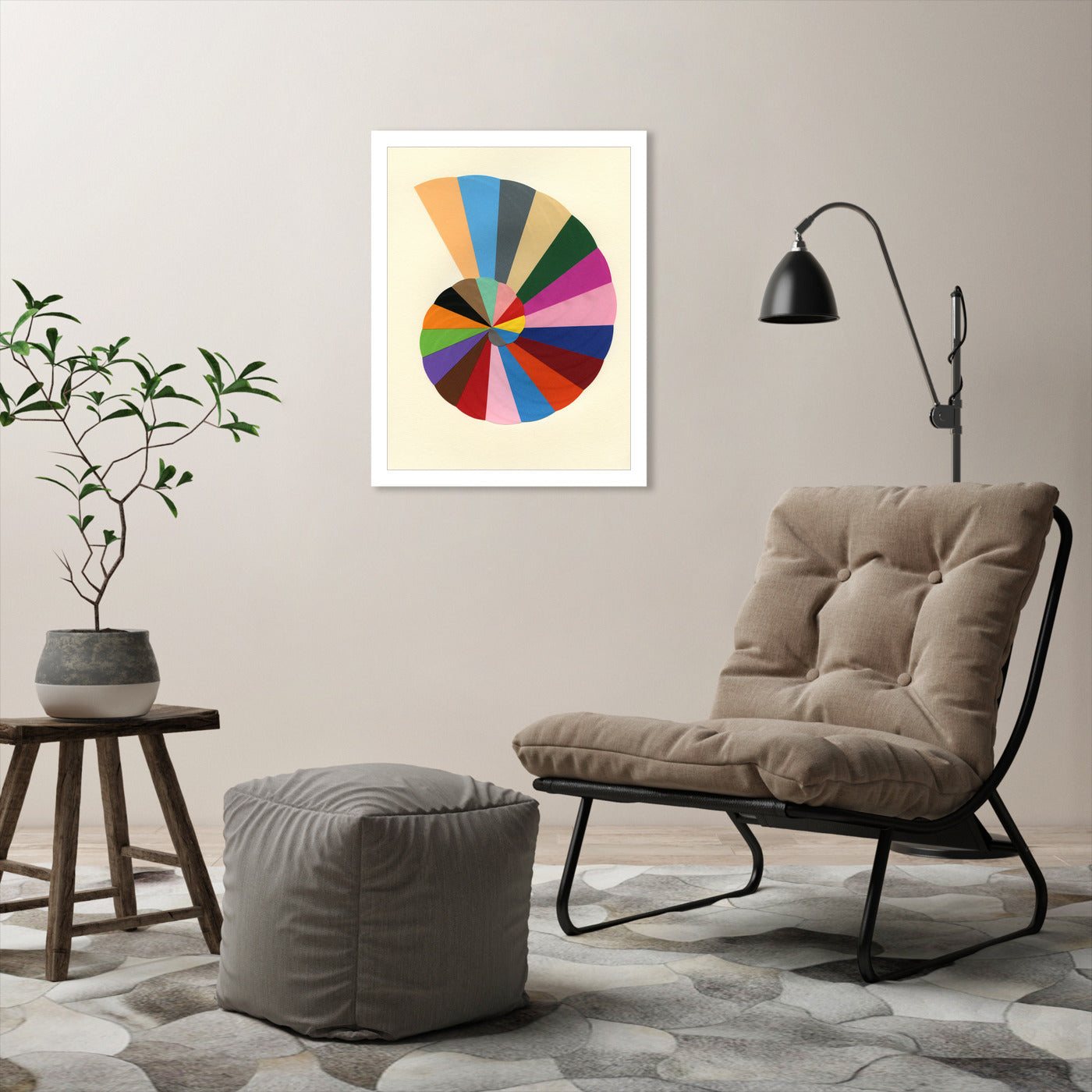 Circle Shell by Rosi Feist - White Framed Print - Wall Art - Americanflat