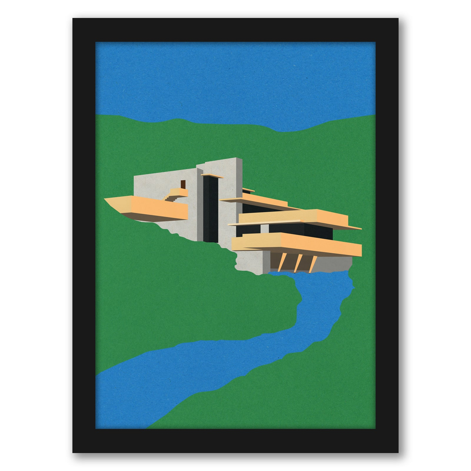 Frank Loyd Wright Falling Water by Rosi Feist - Black Framed Print - Wall Art - Americanflat