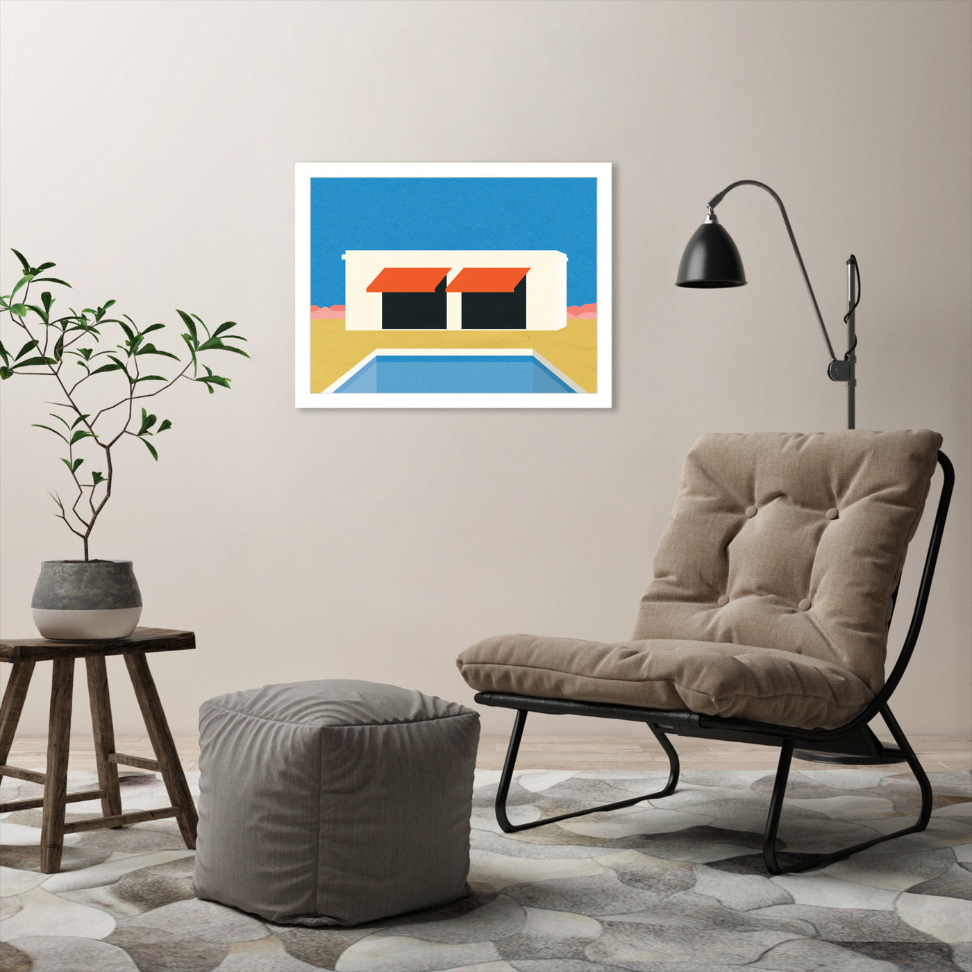 Nevada Pool House by Rosi Feist - White Framed Print - Wall Art - Americanflat