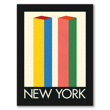 New York Twin Towers by Rosi Feist - Black Framed Print - Wall Art - Americanflat