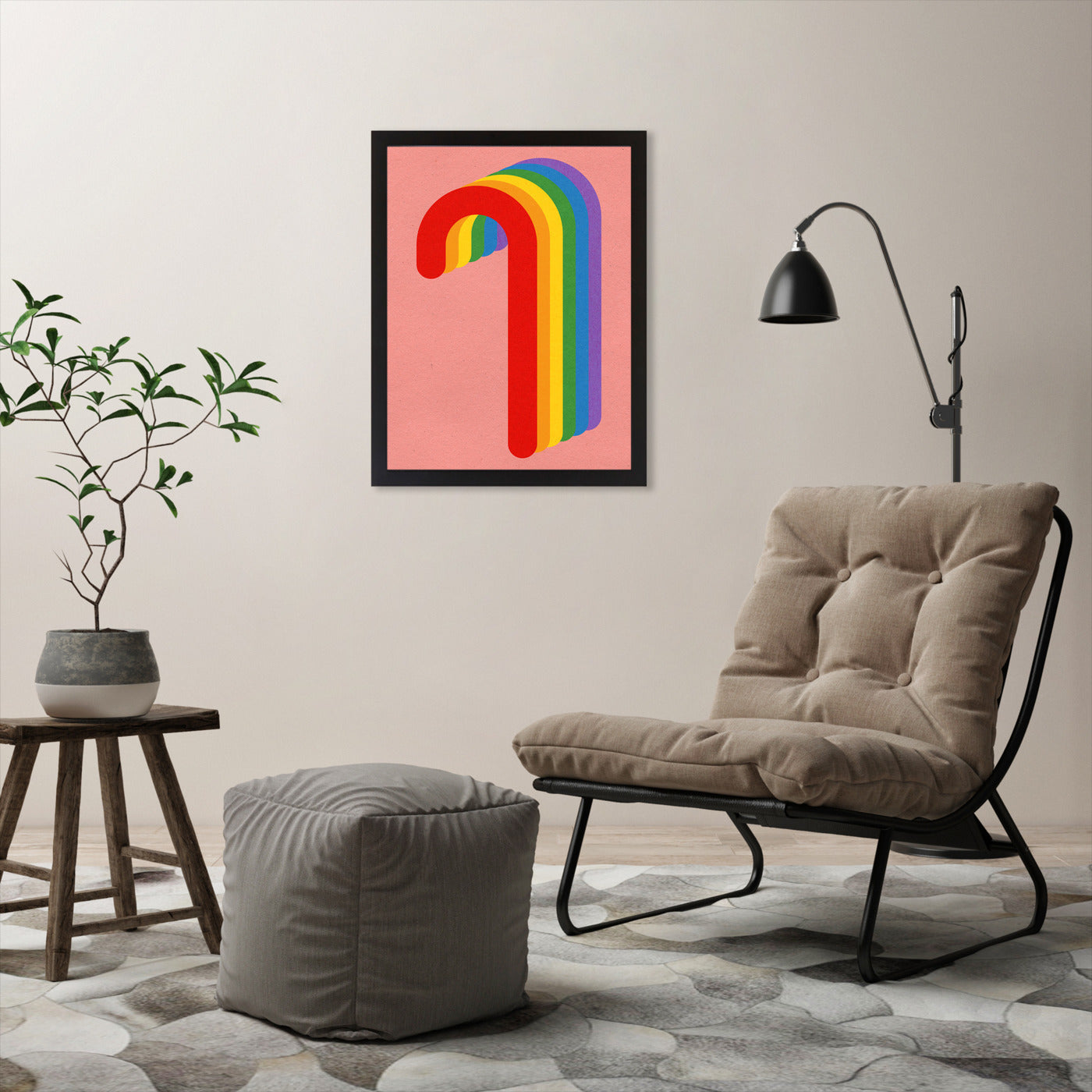 Rainbow Candy Cane by Rosi Feist - Black Framed Print - Wall Art - Americanflat