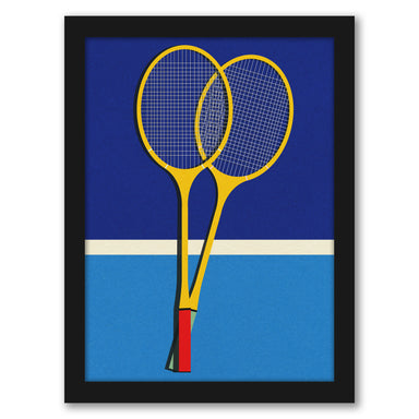 Wooden Badminton Rackets by Rosi Feist - Black Framed Print - Wall Art - Americanflat