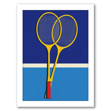 Wooden Badminton Rackets by Rosi Feist - White Framed Print - Wall Art - Americanflat
