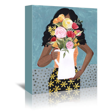 Flower Vase Girl I by Grace Popp by World Art Group - Wrapped Canvas - Wrapped Canvas - Americanflat