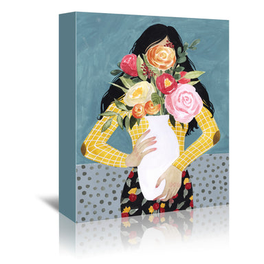 Flower Vase Girl II by Grace Popp by World Art Group - Wrapped Canvas - Wrapped Canvas - Americanflat