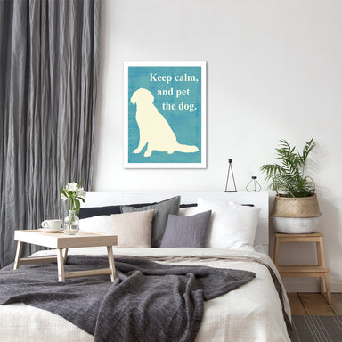 Keep Calm and Pet the Dog by Vision Studio by World Art Group - White Framed Print - Wall Art - Americanflat