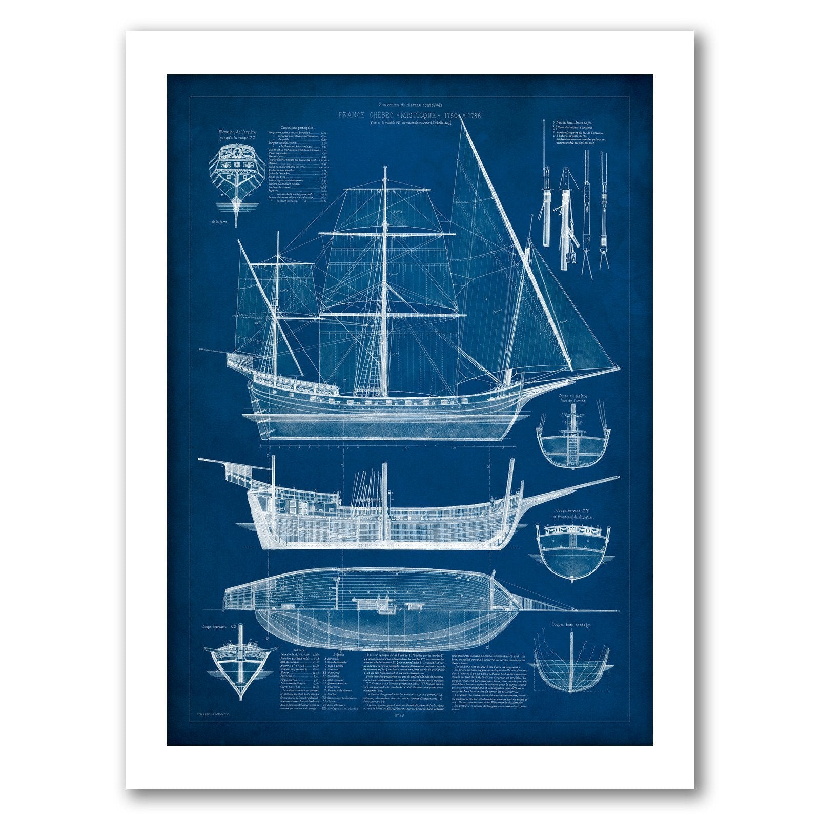 Antique Ship Blueprint I by Vision Studio by World Art Group - White Framed Print - Wall Art - Americanflat
