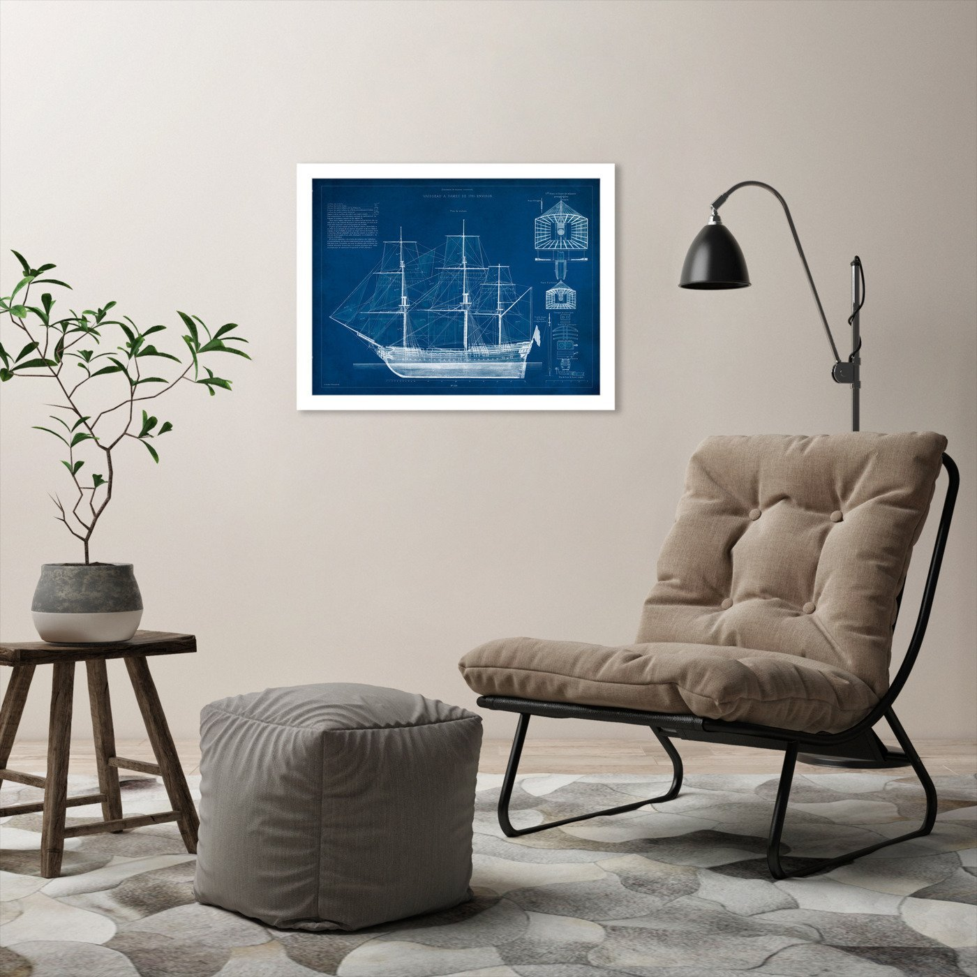 Antique Ship Blueprint IV by Vision Studio by World Art Group - White Framed Print - Wall Art - Americanflat