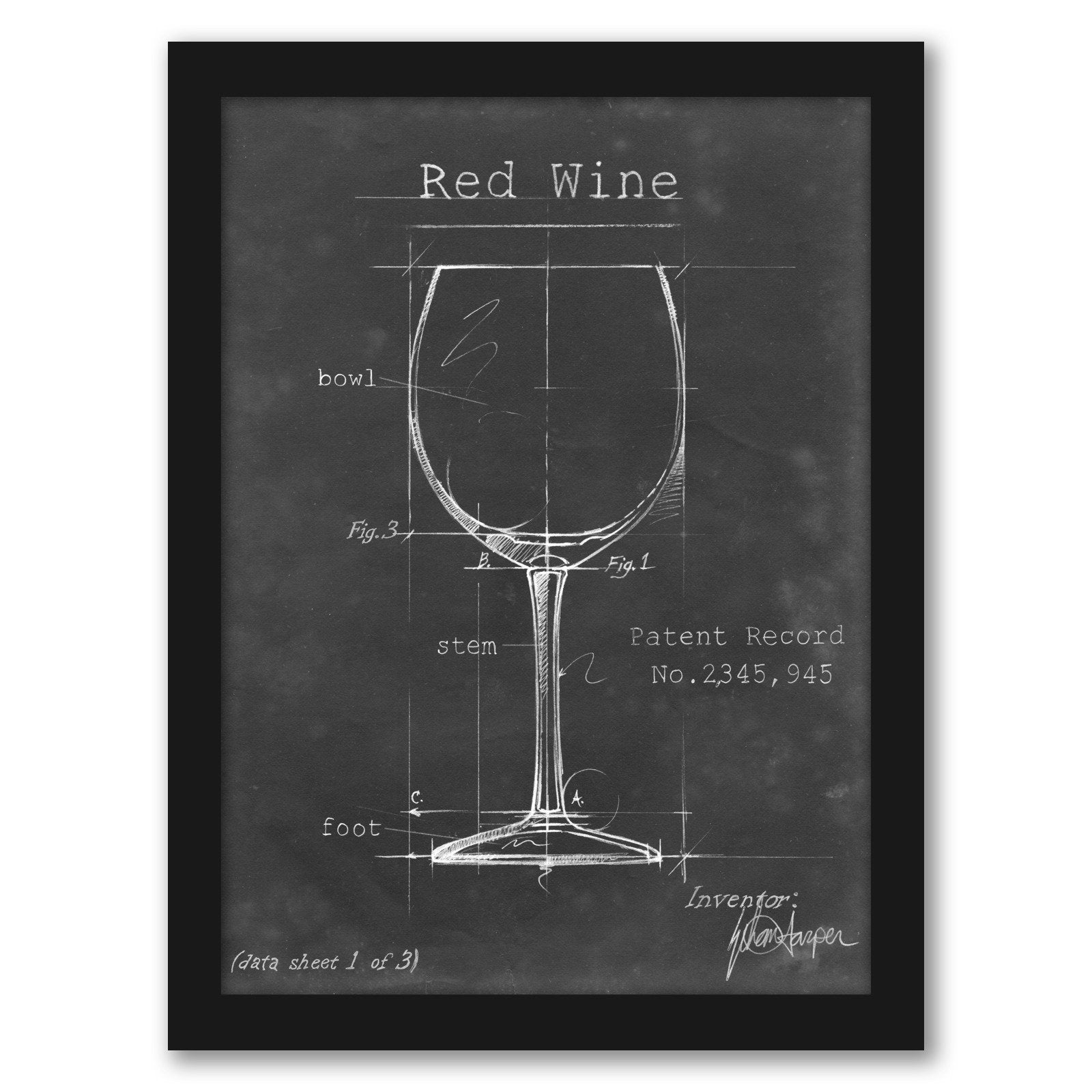 Barware Blueprint III by Ethan Harper by World Art Group - Black Framed Print - Wall Art - Americanflat