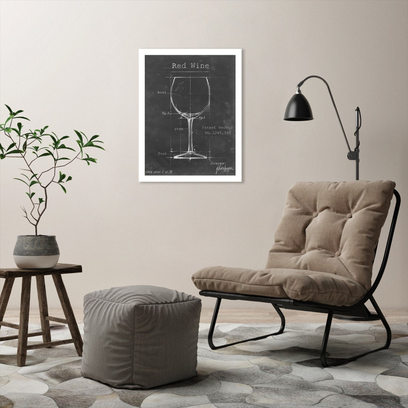 Barware Blueprint III by Ethan Harper by World Art Group - White Framed Print - Wall Art - Americanflat