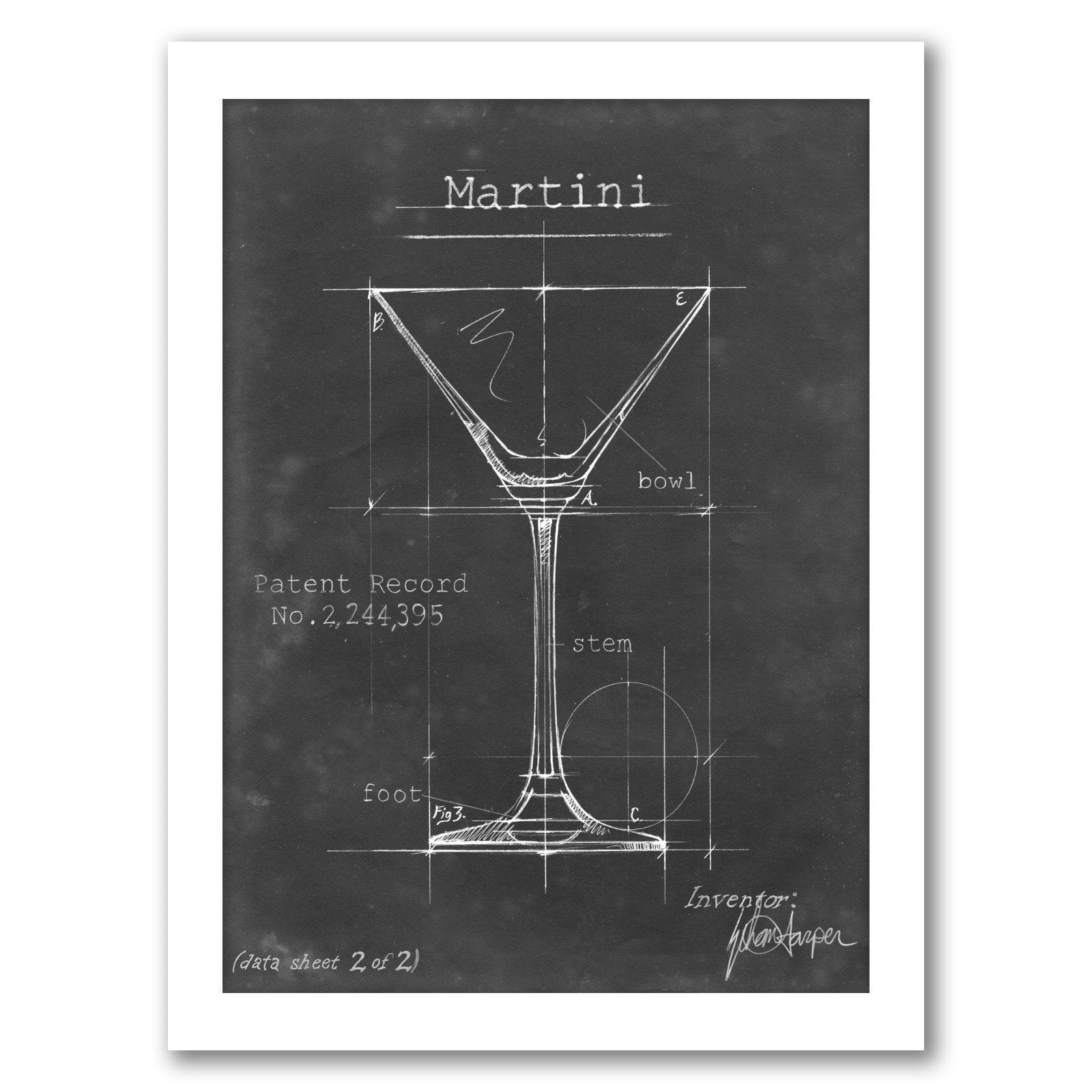 Barware Blueprint V by Ethan Harper by World Art Group - White Framed Print - Wall Art - Americanflat