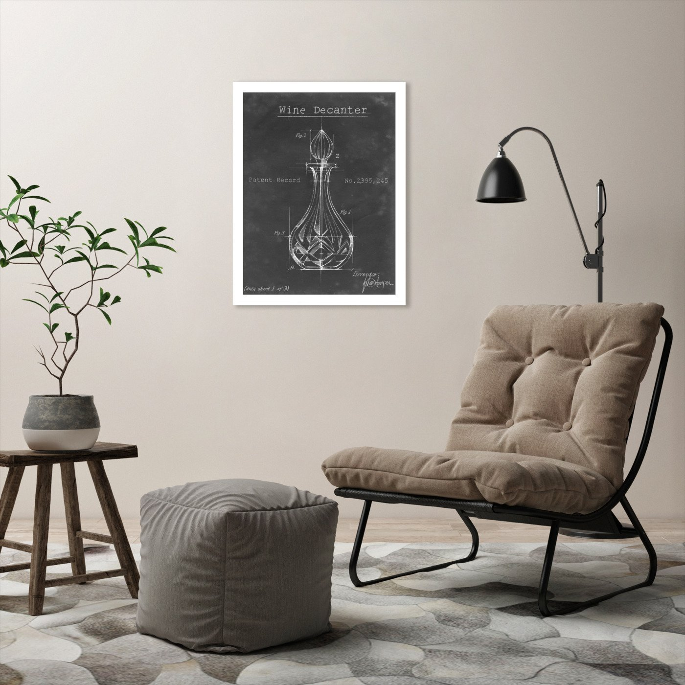 Barware Blueprint VIII by Ethan Harper by World Art Group - White Framed Print - Wall Art - Americanflat