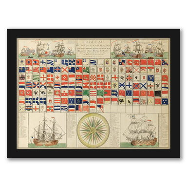 Sea Flags of all Nations by Louis-Joseph Mondhare by World Art Group - Black Framed Print - Wall Art - Americanflat