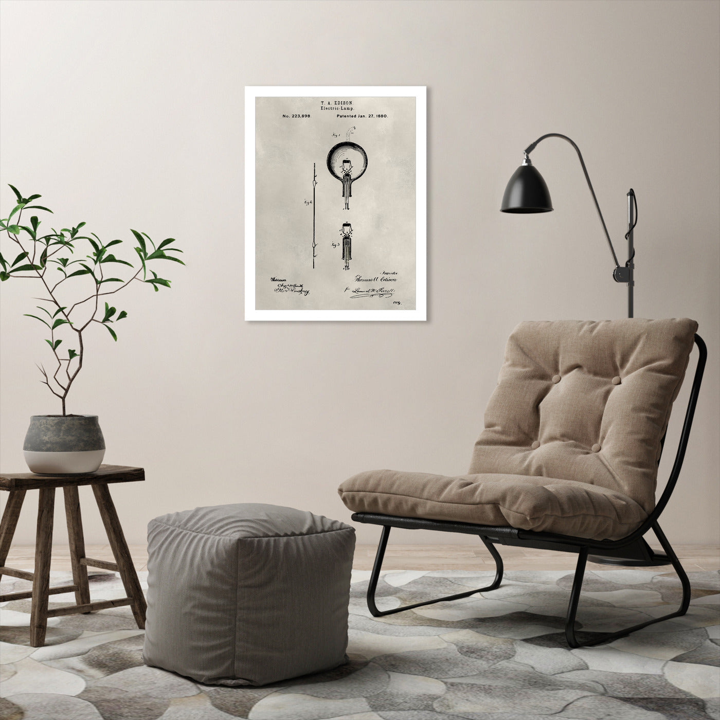 Patent--Light Bulb by Alicia Ludwig by World Art Group - White Framed Print - Wall Art - Americanflat