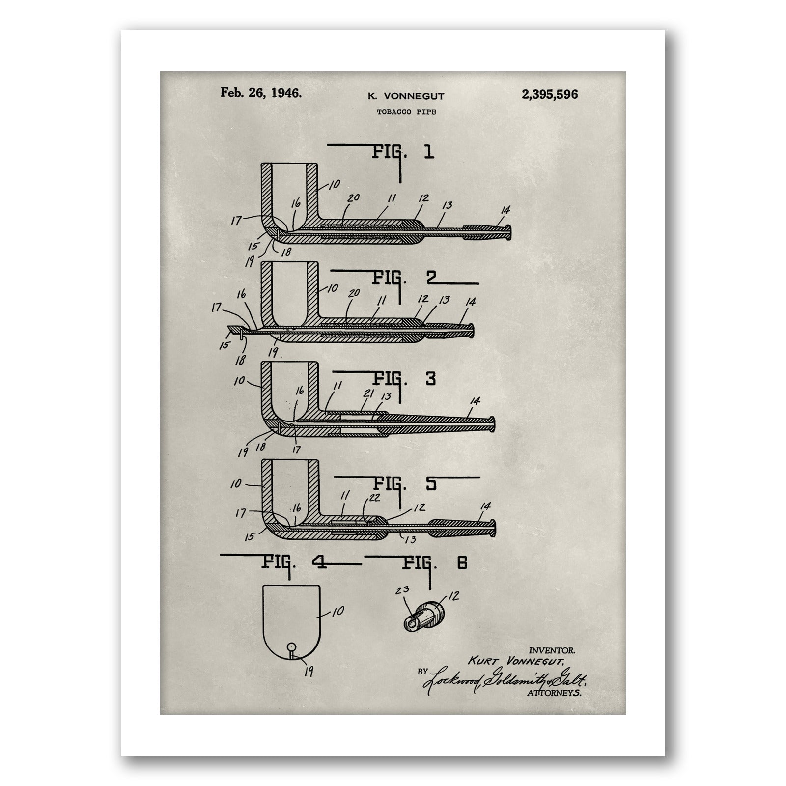 Patent--Pipe by Alicia Ludwig by World Art Group - White Framed Print - Wall Art - Americanflat