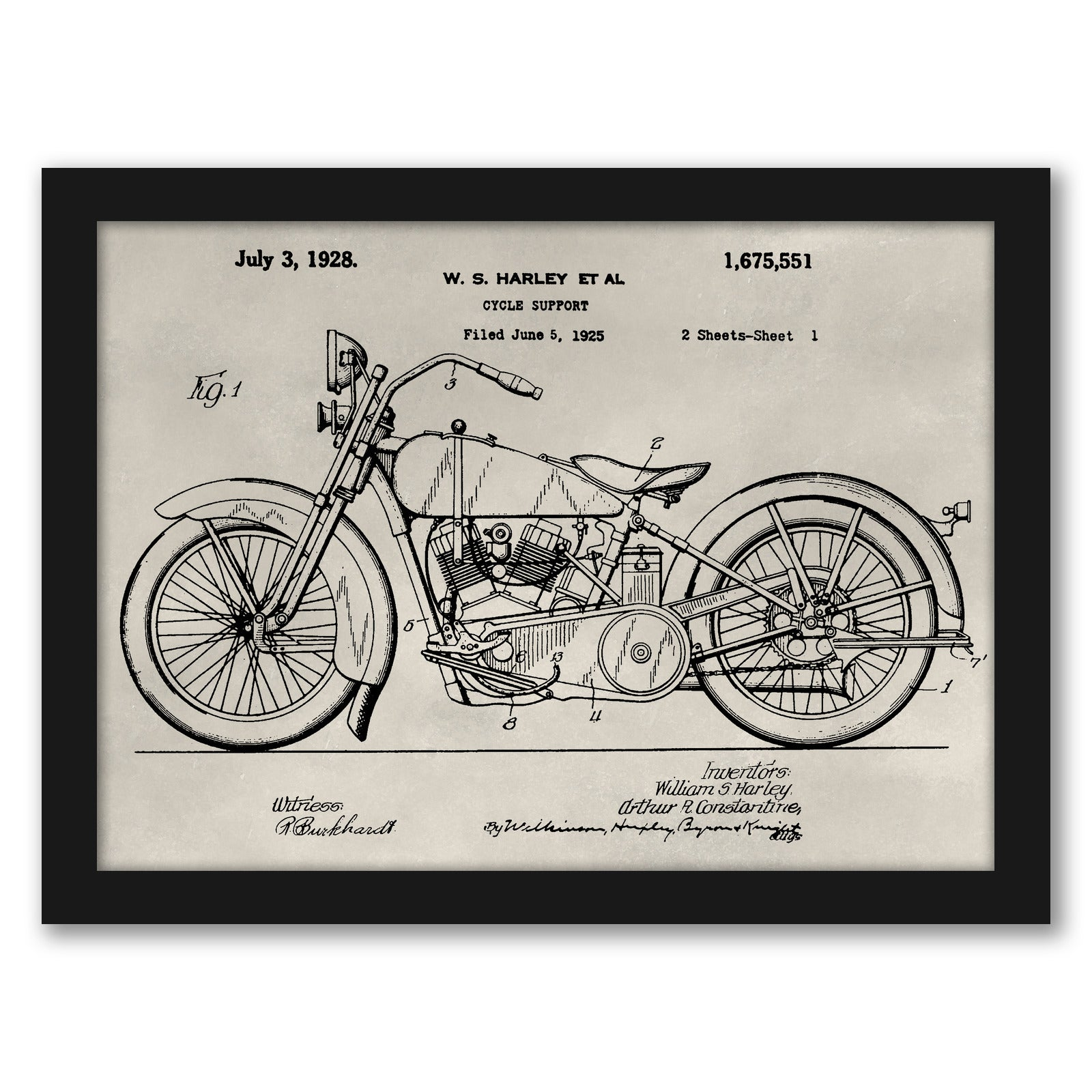 Patent--Motorcycle by Alicia Ludwig by World Art Group - Black Framed Print - Wall Art - Americanflat