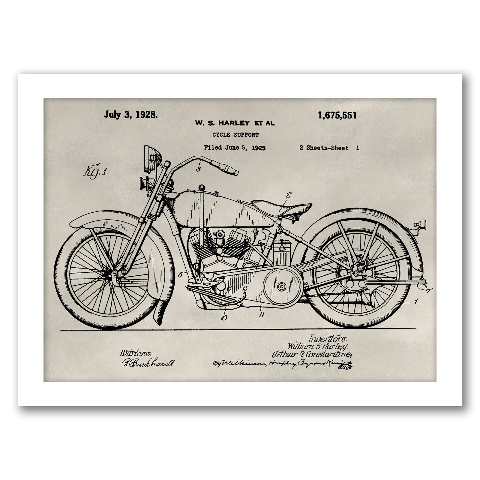 Patent--Motorcycle by Alicia Ludwig by World Art Group - White Framed Print - Wall Art - Americanflat