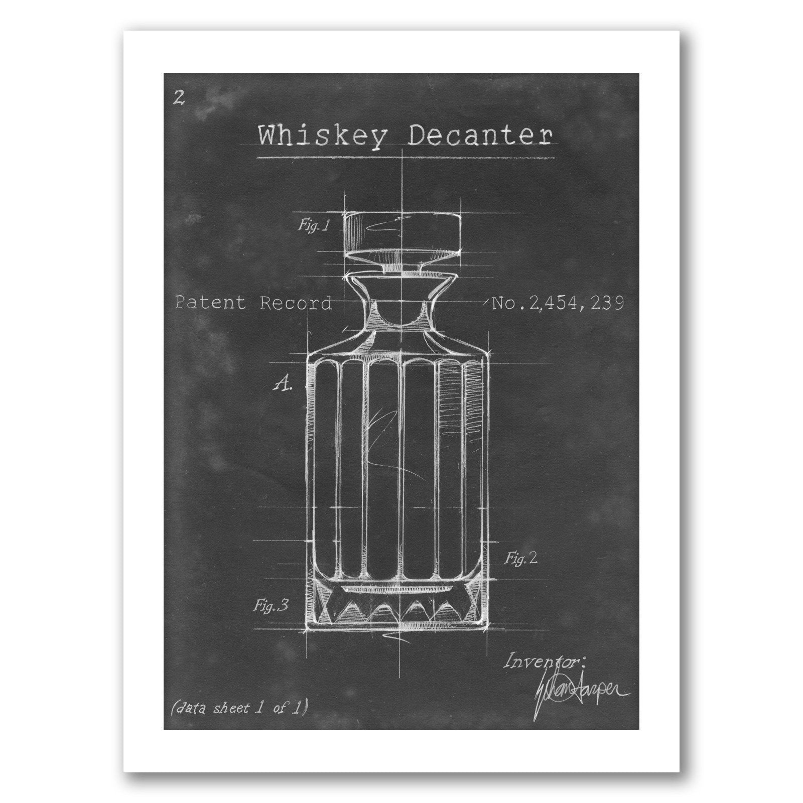 Barware Blueprint VII by Ethan Harper by World Art Group - White Framed Print - Wall Art - Americanflat