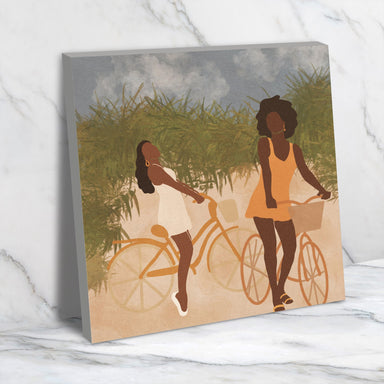 Biking Background by Sarah Dahir - Wrapped Canvas - Wrapped Canvas - Americanflat