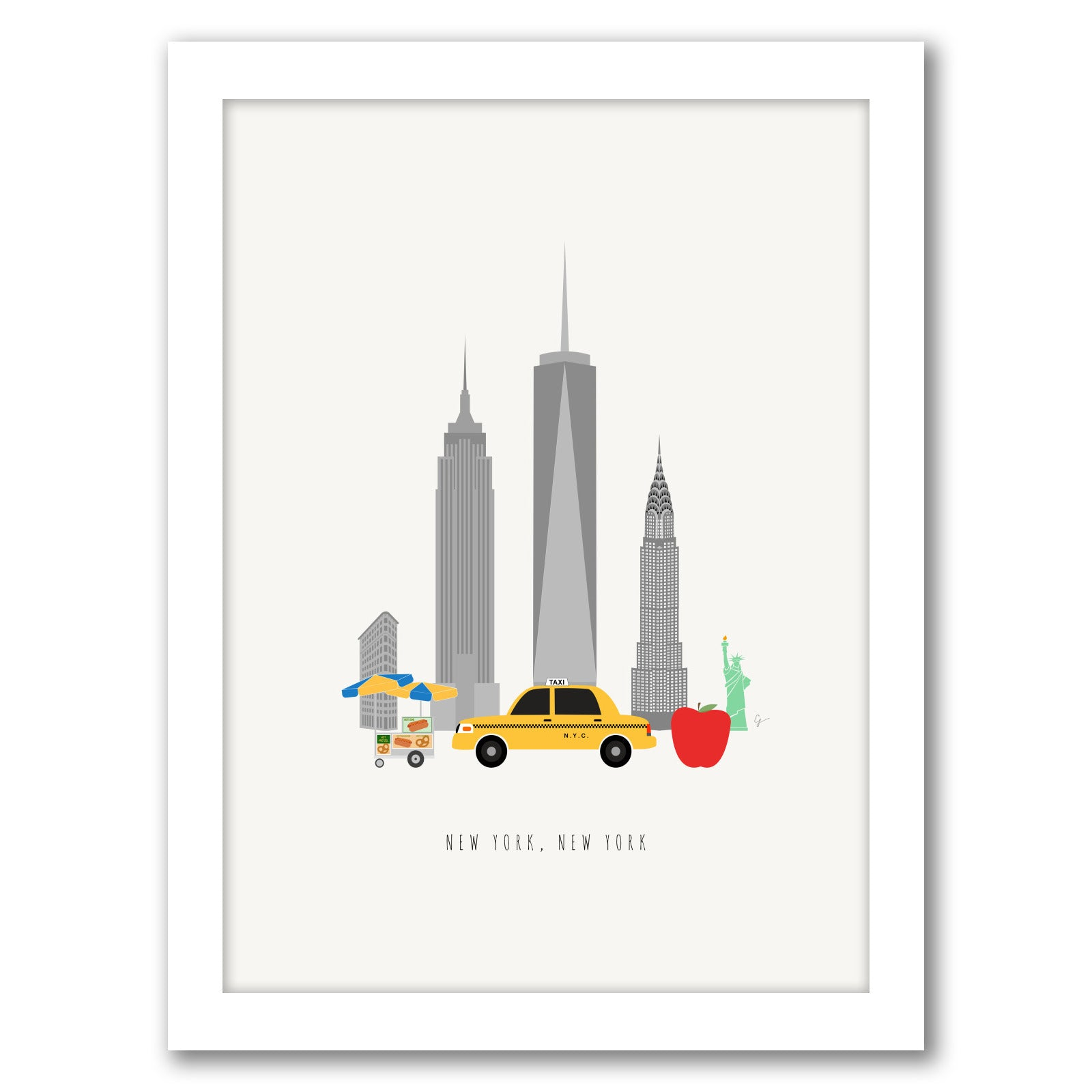 White Frame Nyc Skyline By Lyman Creative Co Americanflat