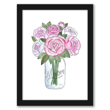 "Mason Jar Peonies by Elyse Burns - Black Frame, Black Frame, 16"" x 20"""