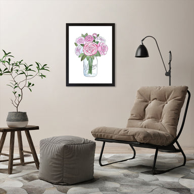"Mason Jar Peonies by Elyse Burns - Black Frame, Black Frame, 18"" x 24"""
