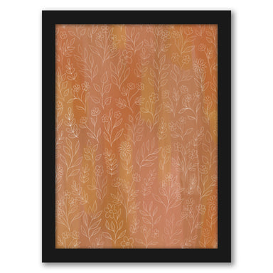 "Orange Floral by Elyse Burns - Black Frame, Black Frame, 16"" x 20"""