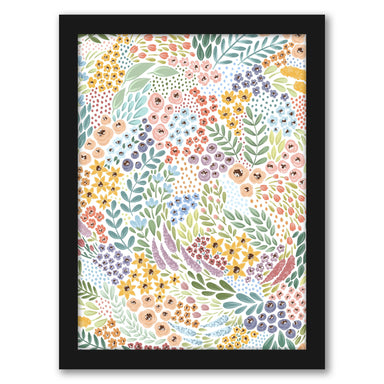 "White Bkgrd Rainbow Wildflowers by Elyse Burns - Black Frame, Black Frame, 16"" x 20"""