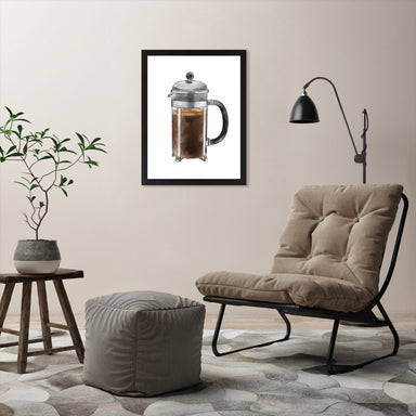 "French Press by Elyse Burns - Black Frame, Black Frame, 18"" x 24"""